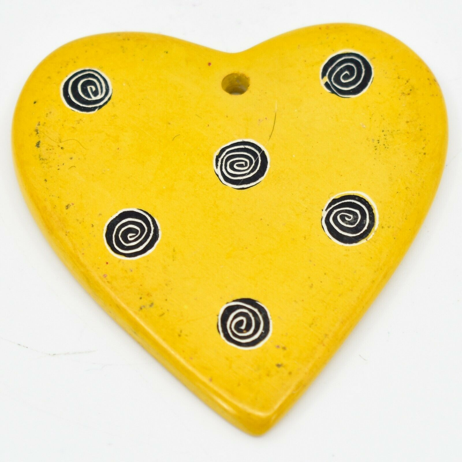 Tabaka Chigware Hand Carved Kisii Soapstone Yellow Heart Christmas Tree Ornament