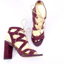 Sam Edelman Yardley Lace-Up Block Heels in Port Wine Size 8.5 Suede Leather - $49.45