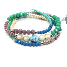 BRACELET ANTICA MURRINA VENEZIA WITH MURANO GLASS PURPLE BLUE GREEN BR77... - $40.05