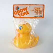 Vintage Grow Time Squeeze & Squeak Rubber Ducky Sailor Duck 1980's New O... - $24.99
