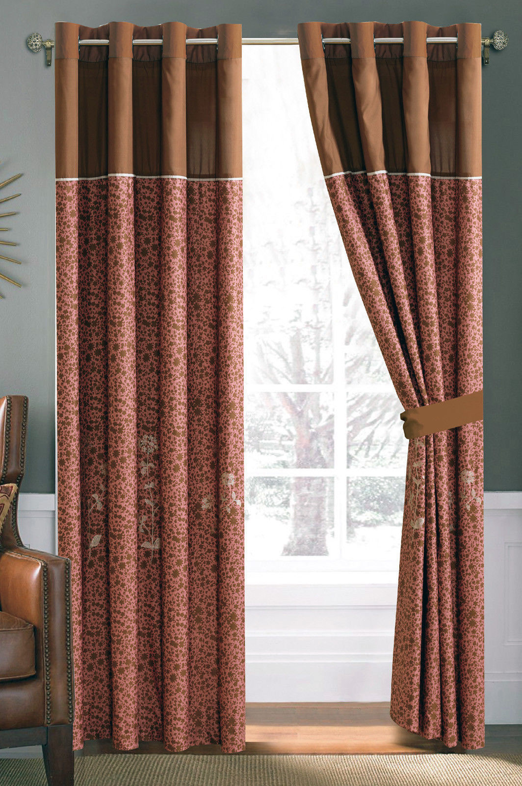 4P Spring Wild Flower Embroidery Curtain Set Brown Coffee Gold Sheer Liner Drape - $40.89
