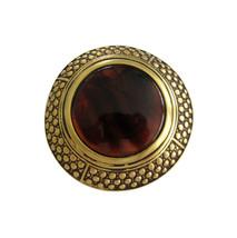 Ben-Amun Large Round Gold Tone & Tortoise Lucite Brooch Pin - $68.00