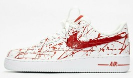 nike air force 1 white custom 'Bloodys' available in all sizes 7-13 - $210.00