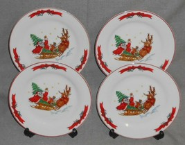 Set (4) MACYS The Cellar SANTA SLEIGH PATTERN Salad Plates HOLIDAY - CHR... - $29.69