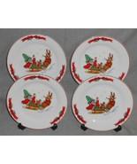Set (4) MACYS The Cellar SANTA SLEIGH PATTERN Salad Plates HOLIDAY - CHR... - $29.69