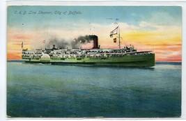 Steamer City of Buffalo C & B Line 1910 postcard - $6.39