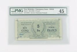 1943 Nuovo Hebrides 5 Franchi CXF-45 Emergenza Issue WWII Scelta Splendi... - $292.45