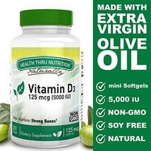 Vitamin D3 5000 IU, Non-GMO, 360 Mini Softgels, Soy Free, USP Grade Natural Vita image 1