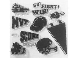 """Close to My Heart """"Go! Fight! Win!"""" Clear Cling Acrylic Stamp Set #B1136"""