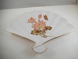 Vintage Made in Japan Fan Shaped Trinket Dish Butterfly Flower Gold Trim - $17.66