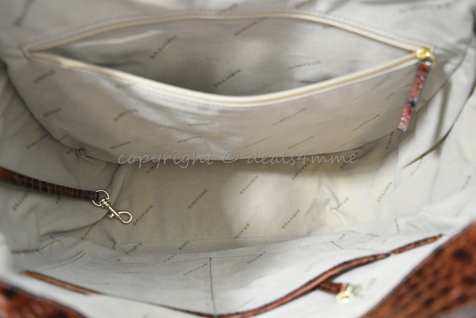 NWT Brahmin Marianna Leather Tote / Shoulder Bag in Pecan Melbourne image 7