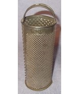 Antique Primitive Round Cylinder Tin Kitchen Utensil Grater Solder Strap... - $29.95