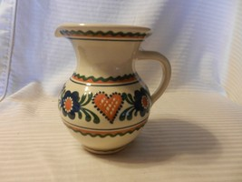 "Small White Ceramic Pitcher Floral Embossed Design Blue, Green, Tan 5.75"" Tall - $29.69"