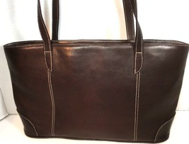 Piel Dark Brown Leather Tote Bag Hand Made In Colombia image 2