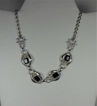 Vintage Silver Tone & Black Rhinestone Choker Necklace - $13.85
