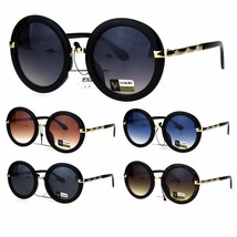 Womens Double Metal Plastic Frame Round Designer Fashion Diva Sunglasses - $12.95