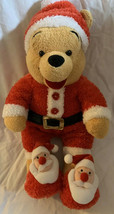 "Disney Store Christmas Holiday Santa Winnie The Pooh Soft Plush Stuffed 14"" - $19.79"