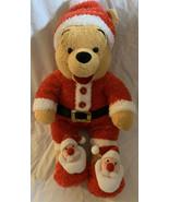 "Disney Store Christmas Holiday Santa Winnie The Pooh Soft Plush Stuffed 14"" - $19.79"