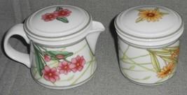 Dansk Cafe Floral Pattern Creamer w/Lid And Sugar w/Lid Set - $49.49