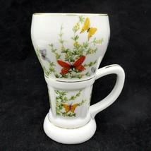 Shafford Ecstasy Tall Irish Coffee Mug Butterfly Garden 12oz Tea Cup Japan - $13.95