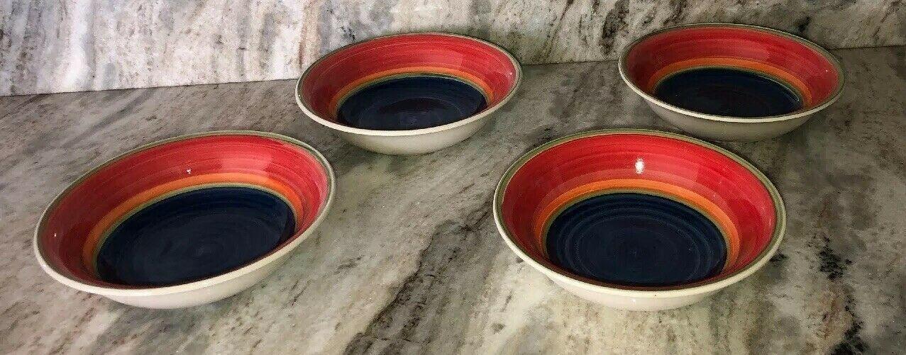 Multi-Colored Cereal Soup Salad Bowls Set of 4-Royal Norfolk-New-RARE-SHIPN24HRS - $39.48