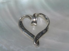 Estate 925 Silver Marked True Friends Hearts Scripted Swirly Open HEART ... - $13.99