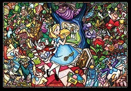 500 piece jigsaw puzzle stained art Alice in Wonderland story small pieces - $24.40