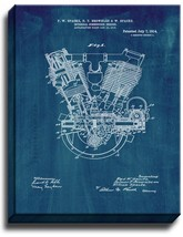 Internal-combustion Engine Patent Print Midnight Blue on Canvas - $39.95+