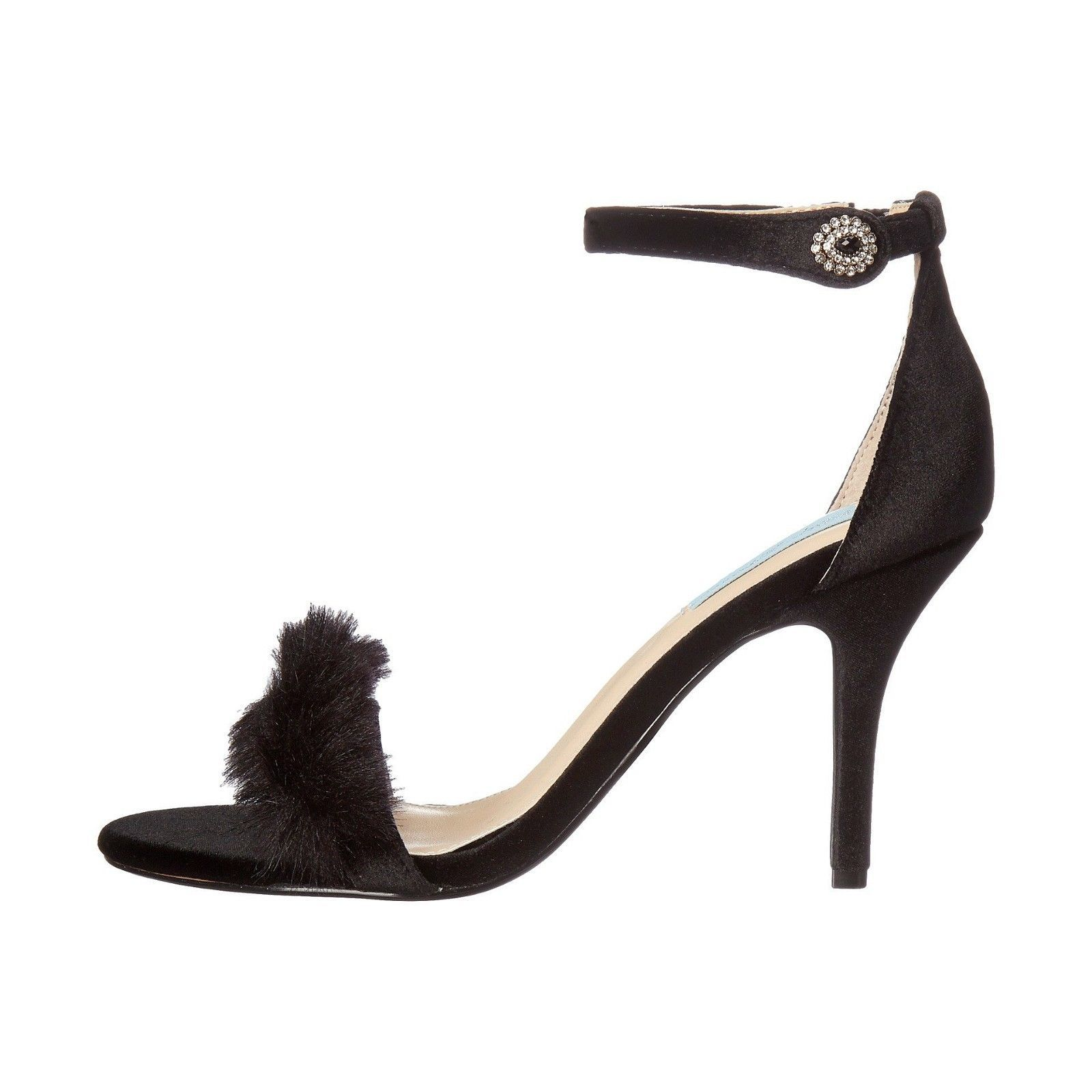 Betsey Johnson Crystal Nolte Black Velvet Faux Fur High Heel Pumps 6 NIB