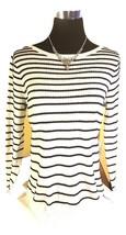 Nuevo con Etiqueta Elle Elegante Textura Suéter de Punto - Blanco W Raya... - $34.96