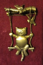 VINTAGE CAT SWINGING ON SWING PIN - SIGNED - $14.20