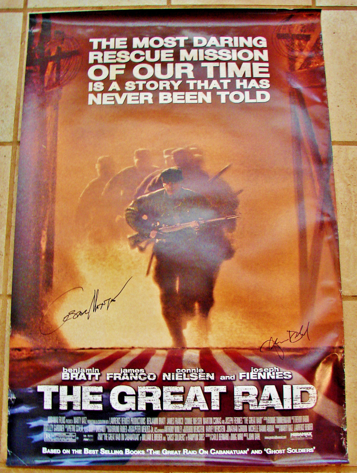 2005 THE GREAT RAID Movie POSTER 27x40 SIGNED Director JOHN DAHL & CESAR MONTANO