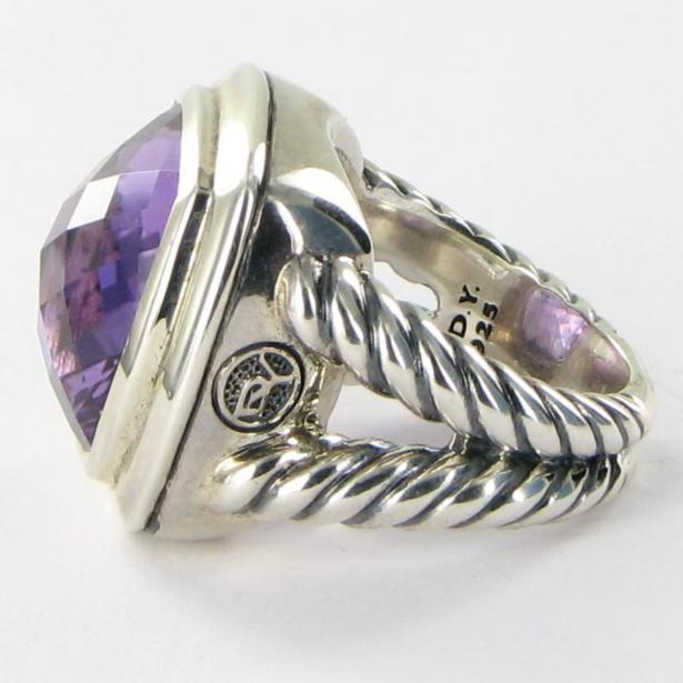 David Yurman Albion Amethyst Ring 17mm Cable Sterling Split Shank Sz 7 New $1275