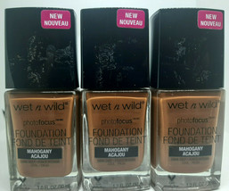 Lot 3 Wet N Wild Photo Focus Makeup Face Liquid Foundation Mahogany 1oz 379C - $15.79