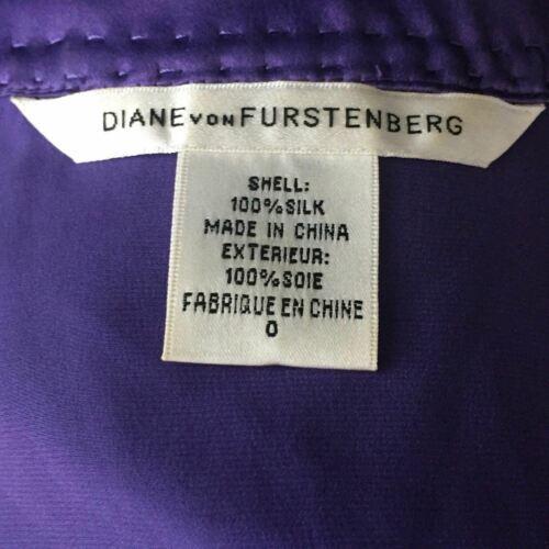 DVF Diane Von Furstenberg Purple top blouse 100% silk size 0 Career work image 8