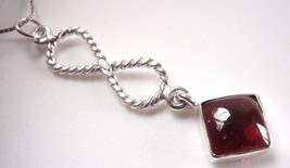 Garnet Pendant 925 Sterling Silver Infinity Hoop Symbolizes Forever Love New - $12.86