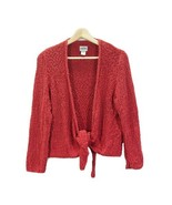 CHICO'S Orange Knit Open Tie Cardigan Sweater Sz 2 Long Sleeves - $22.24