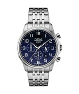 Genuine Pulsar Silver Stainless Blue Dial Chronograph Date Quartz Watch ... - $100.95