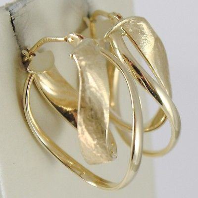 YELLOW GOLD EARRINGS 750 18K CIRCLE, WAVY, DOUBLE OVAL POLISHED SATIN