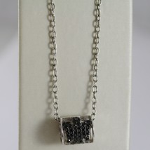 ROBERTO GIANNOTTI 925 SILVER BLACK ZIRCONIA NECKLACE TUBE ANGEL MADE IN ITALY image 1