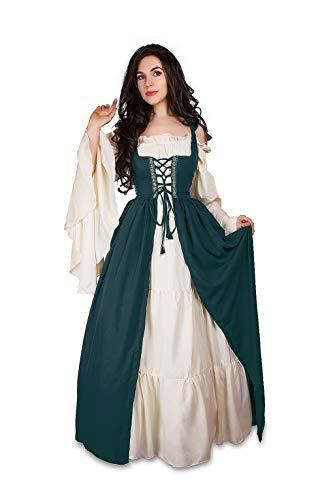 Mythic Renaissance Medieval Irish Costume Over Dress & Cream Chemise Set (S/M, C