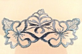 Blue Floral Embroidered Pillowcases Pair Crestline Royal Box New Unused Vtg - $19.79