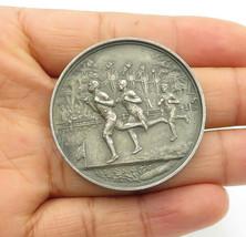 JAMES FENTON ENGLAND 925 Silver - Vintage Antique Floral Wreath Medallio... - $233.75