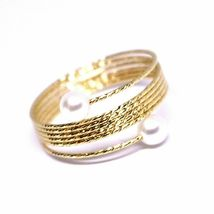 Yellow Gold Ring Or White Or Pink 18K, Multi Wires Elastic with Pearls, image 8