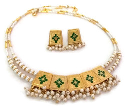 Indian Bridal Necklace Gold Plated Reversible Green Pink White Pearl Jewelry 2S - $17.75