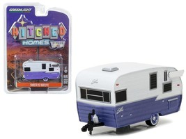 Shasta 15\' Airflyte Trailer White & Purple 1:64 Diecast Model Greenlight - $14.27
