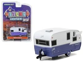 Shasta 15\' Airflyte Trailer White & Purple 1:64 Diecast Model Greenlight - $14.27