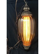"Large 23"" Hanging Swag Lamp Light Amber Glass Mid Century Modern Retro D... - $189.99"