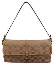 Coach Brown Leather Trim Pink Monogram Canvas Shoulder Bag - $53.95