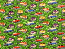 Campervans Trees Green 100% Cotton High Quality Fabric Material *3 Sizes* - $1.85